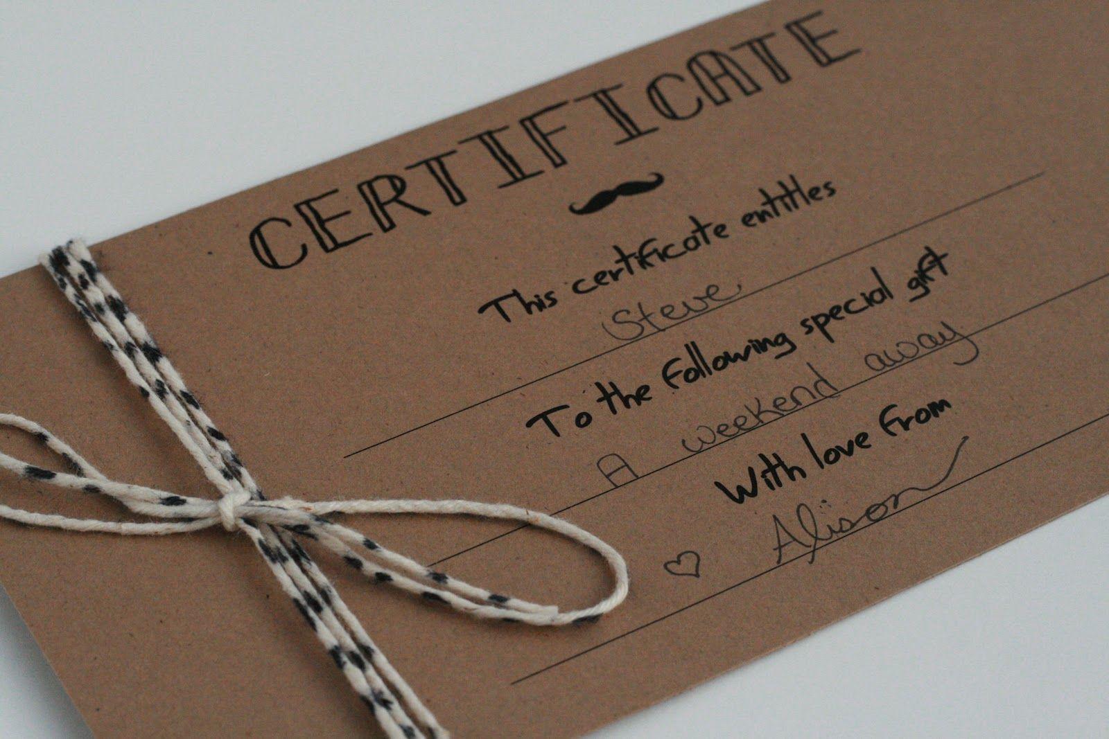 gift certificate certificates printable diy template templates gifts cadeau handmade husband blank homemade card cards petit voucher christmas vouchers manly