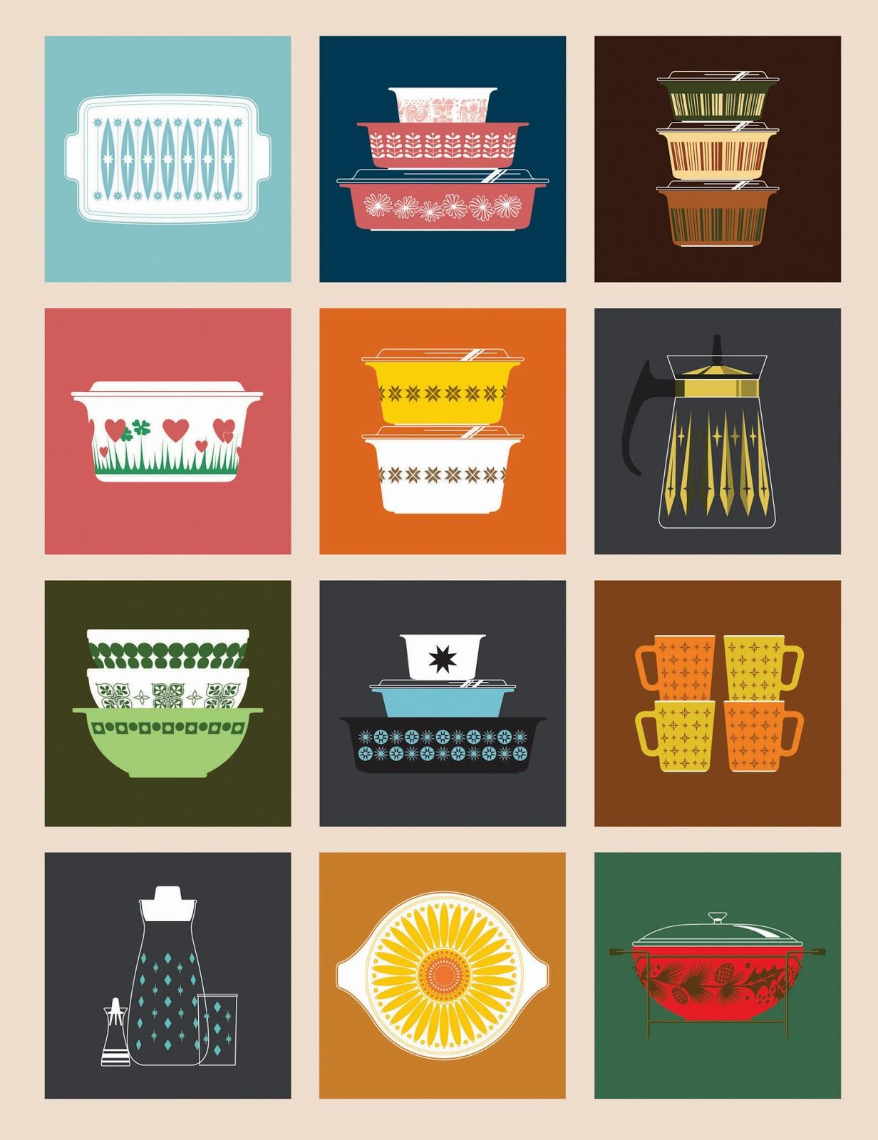 mad for mid-century: the mid-century modern art of pyrex designs