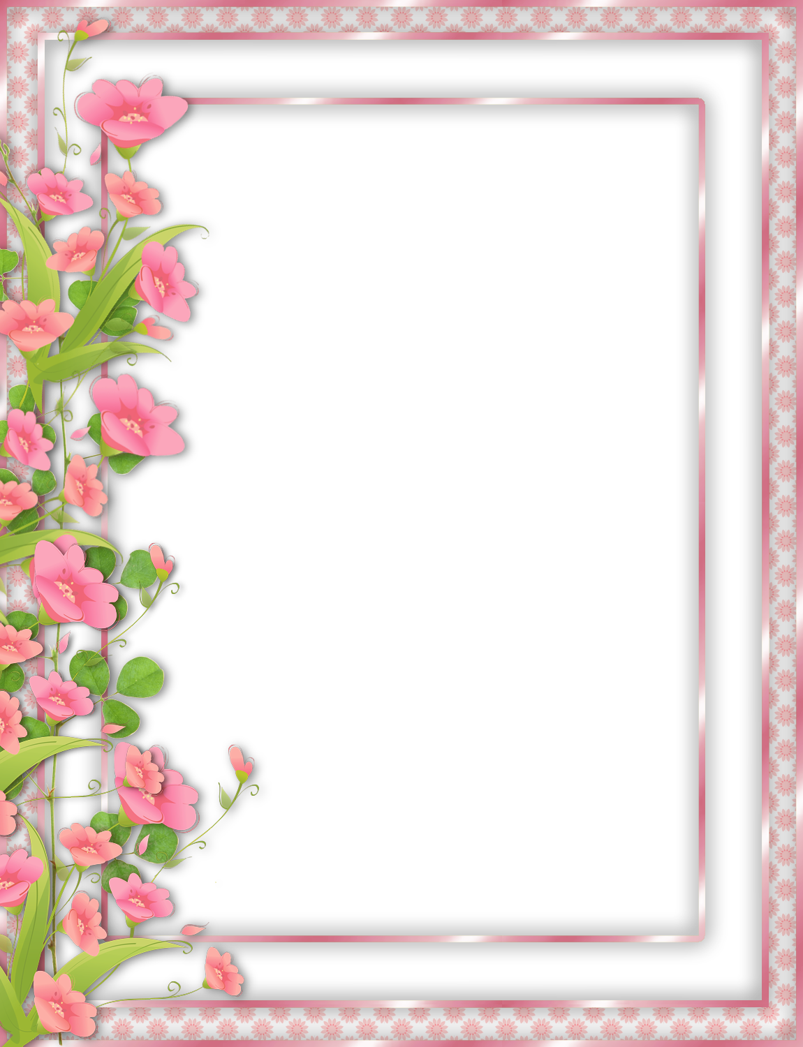 Pink Transparent PNG Frame with Flowers | border | Pinterest ...