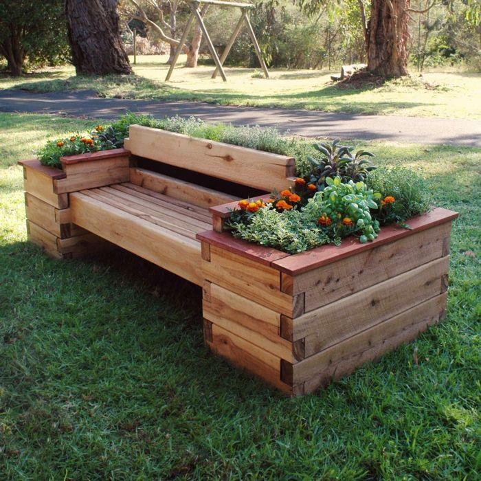Deko Ideen Selbermachen Gartendeko Gartenbank Pflanzenbehälter