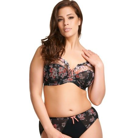 636b670453b Renee is a new sexy style in sheer black with a muted peach floral print.  Bra sizes in stock  34 G-JJ