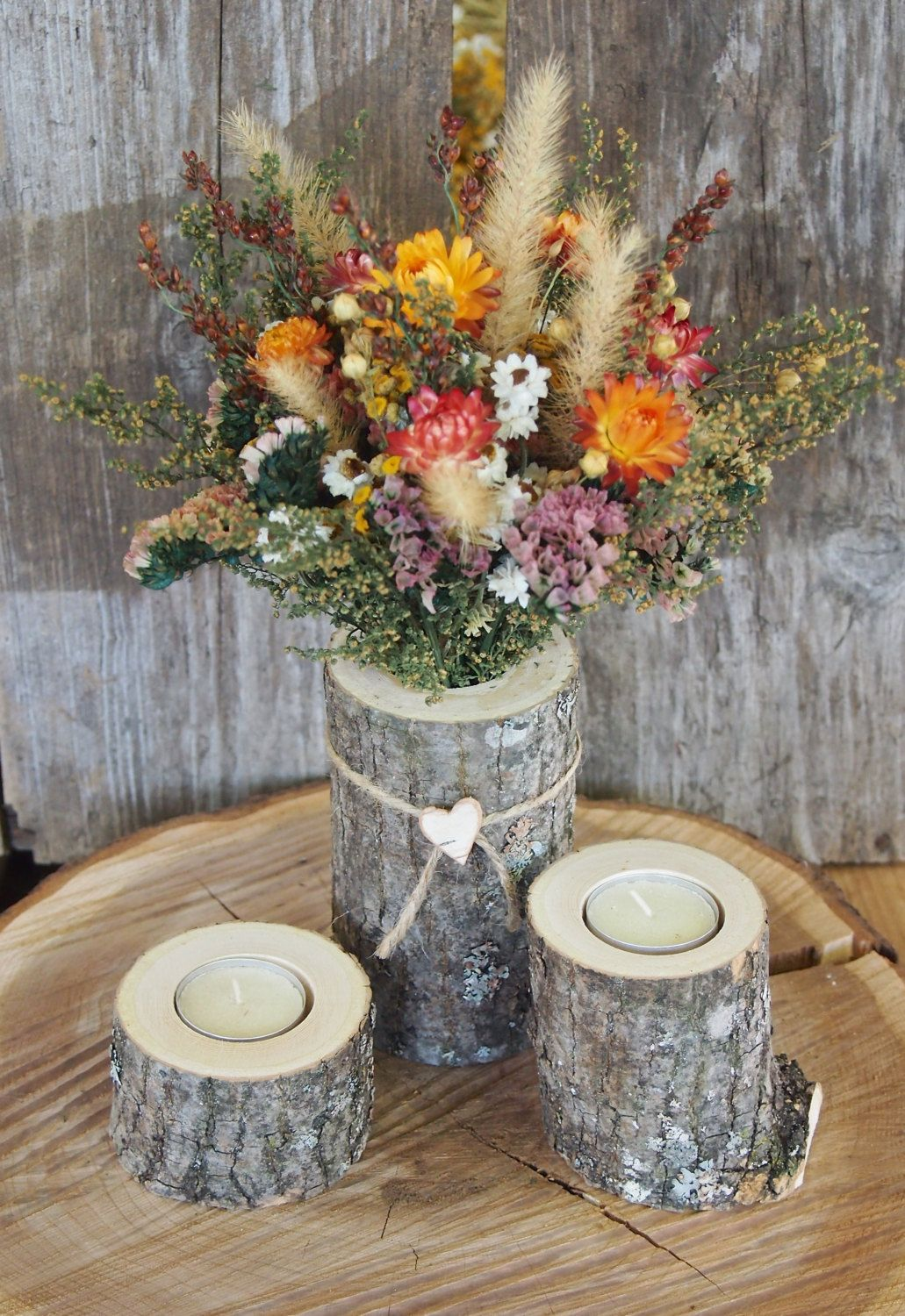 Country centerpiece white ash wood candle holders dried flower country centerpiece white ash wood candle holders dried flower bouquet simple natural wedding izmirmasajfo Images