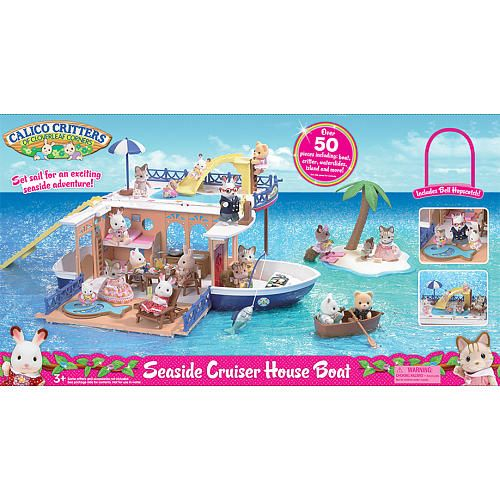 Set sail for an exciting seaside adventure. Over 50 pieces including boat, critter, waterslides, island and more. Private island included. Not for use in water. <br><br>Welcome to the cute and cuddly world of <b>Calico Critters</b> of Cloverleaf Corners! <b>Calico Critters</b> are designed with remarkable attention to detail, these adorable miniature animals live in precious homes decorated with life-like furniture and accessories. Each <b>Calico Critter</b> family plays a different role in…