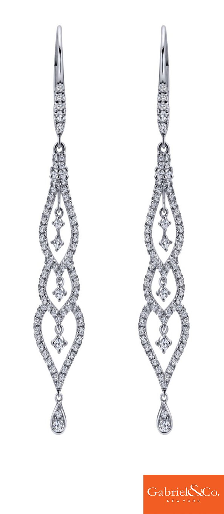 A Stunning Pair Of Amavida 18k White Gold Diamond Drop Earrings From  Gabriel