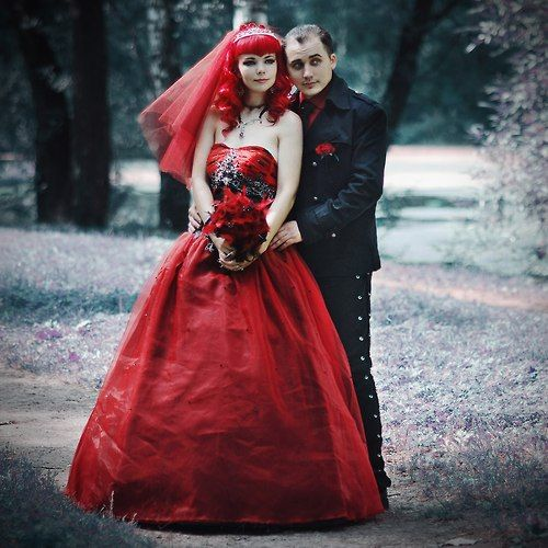 Gothic Wedding Gothic Wedding Dress Black Wedding Dress Gothic Red Lace Wedding Dress