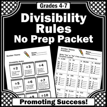 These 4th Grade Divisibility Rules Worksheets Will Help Your Students Learn The Divis Divisibility Rules Divisibility Rules Worksheet 4th Grade Math Worksheets