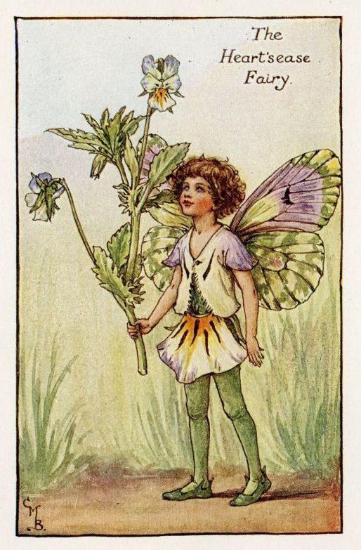 Heart Sease Flower Fairy Vintage Print C 1927 Cicely Mary Barker Book Plate Illustration Flower Fairies Cicely Mary Barker Vintage Fairies