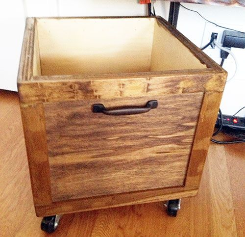 Diy Vinyl Record Lp Storage Box On Wheels Stained Wood