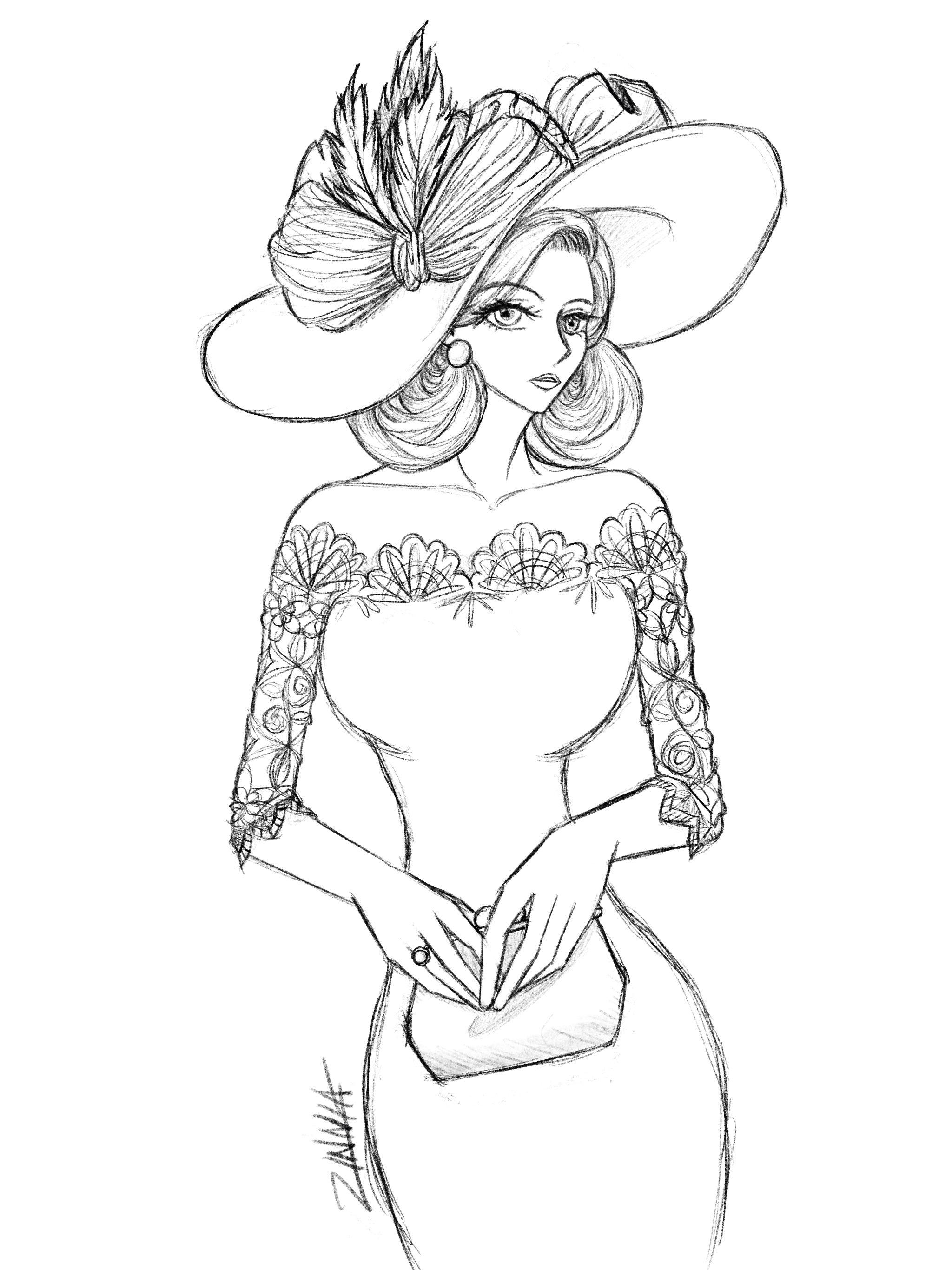 Sketch using iPad Pro Procreate app. Lady illustration