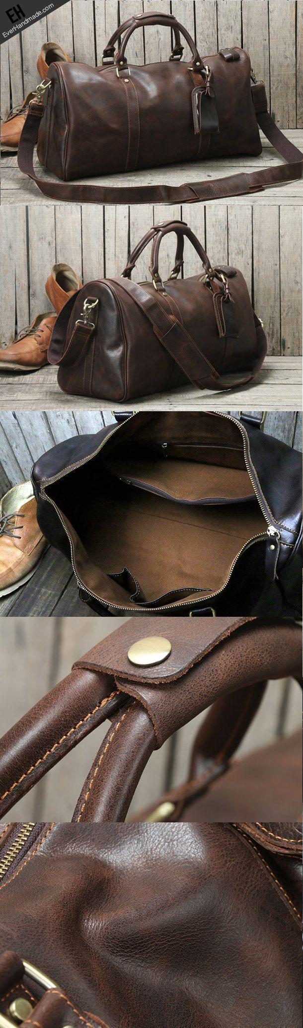 bd48ddaa97 Handmade leather men Travel Duffle Bag Laptop Weekender Bag Overnight Bag  vintage shoulder vintage bag - black ladies bag