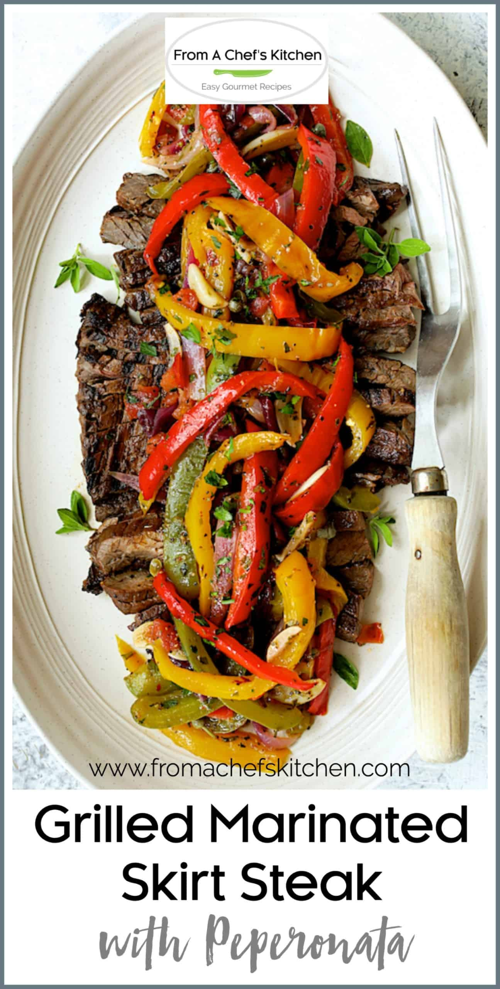 Grilled Marinated Skirt Steak with Peperonata is a dish ...