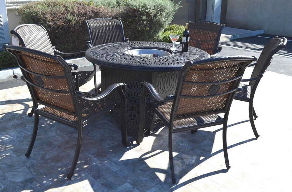 Details about Cast aluminum wicker furniture patio 7pc ...
