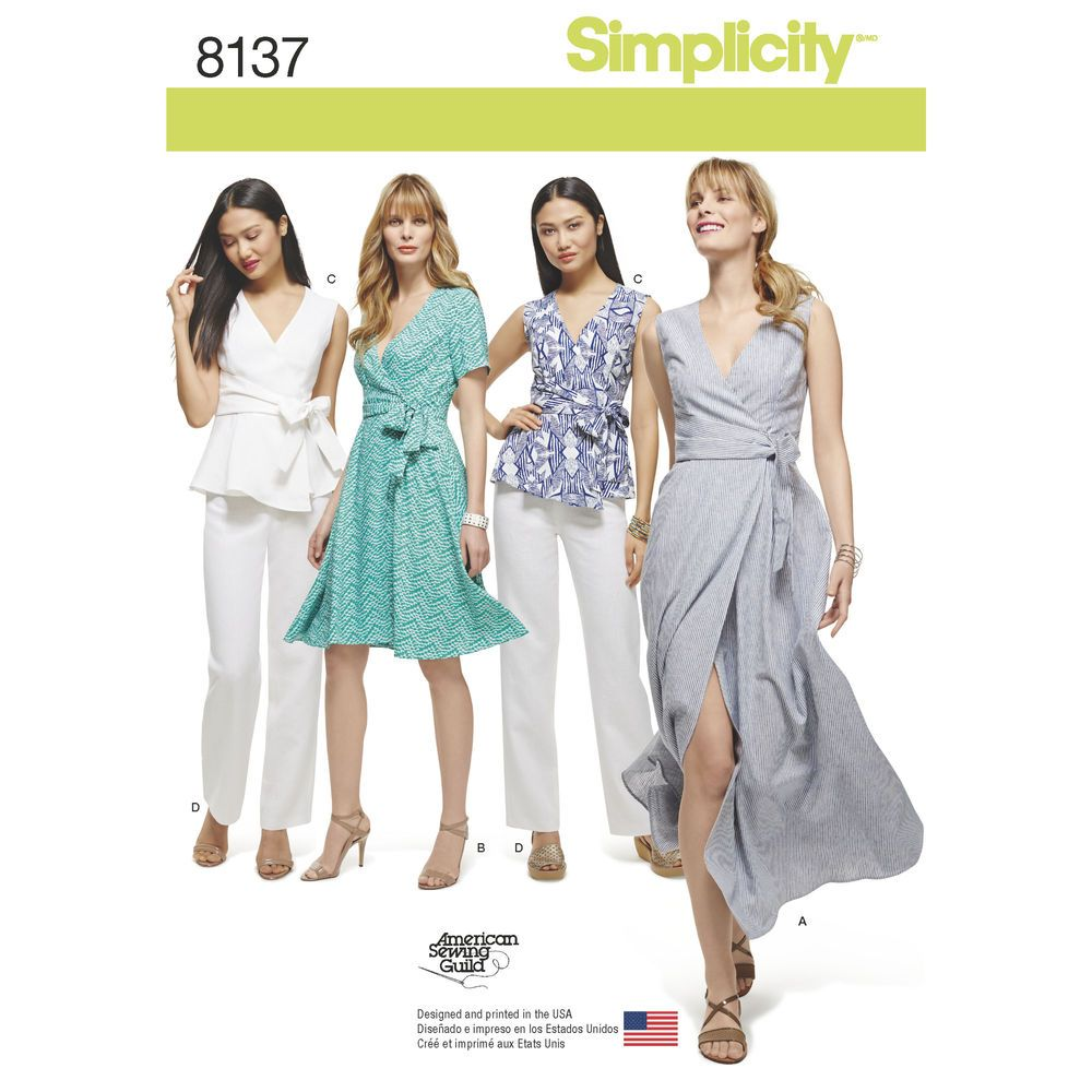 Figure flattering wrap pattern for miss and plus sizes includes simplicity 8137 sewing pattern sew plus size wrap dress top pants sizes jeuxipadfo Images