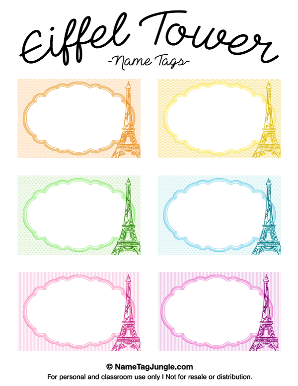 Free Printable Eiffel Tower Name Tags The Template Can Also Be