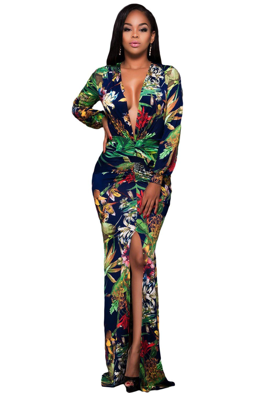 Chicloth plunging v neck floral print front slit long sleeve maxi