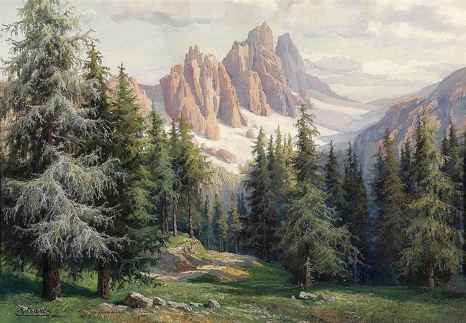 горы и лес картина мастиф продажа