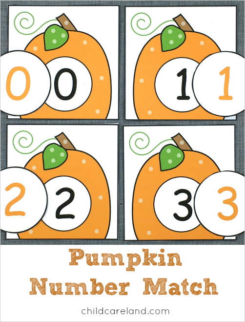 Pumpkin Number Match For Number Recognition And Review Early