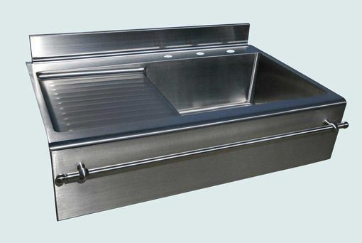 Custom Made Stainless Sink With Drainboard Towel Bar With