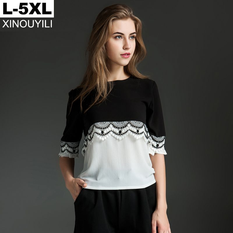 38110b328d3bc Black big size chiffon blouse Summer lace patchwork O-neck half sleeve  loose shirts L XL XXL XXXL 4XL 5XL Plus size women tops   Ini pin  AliExpress ...