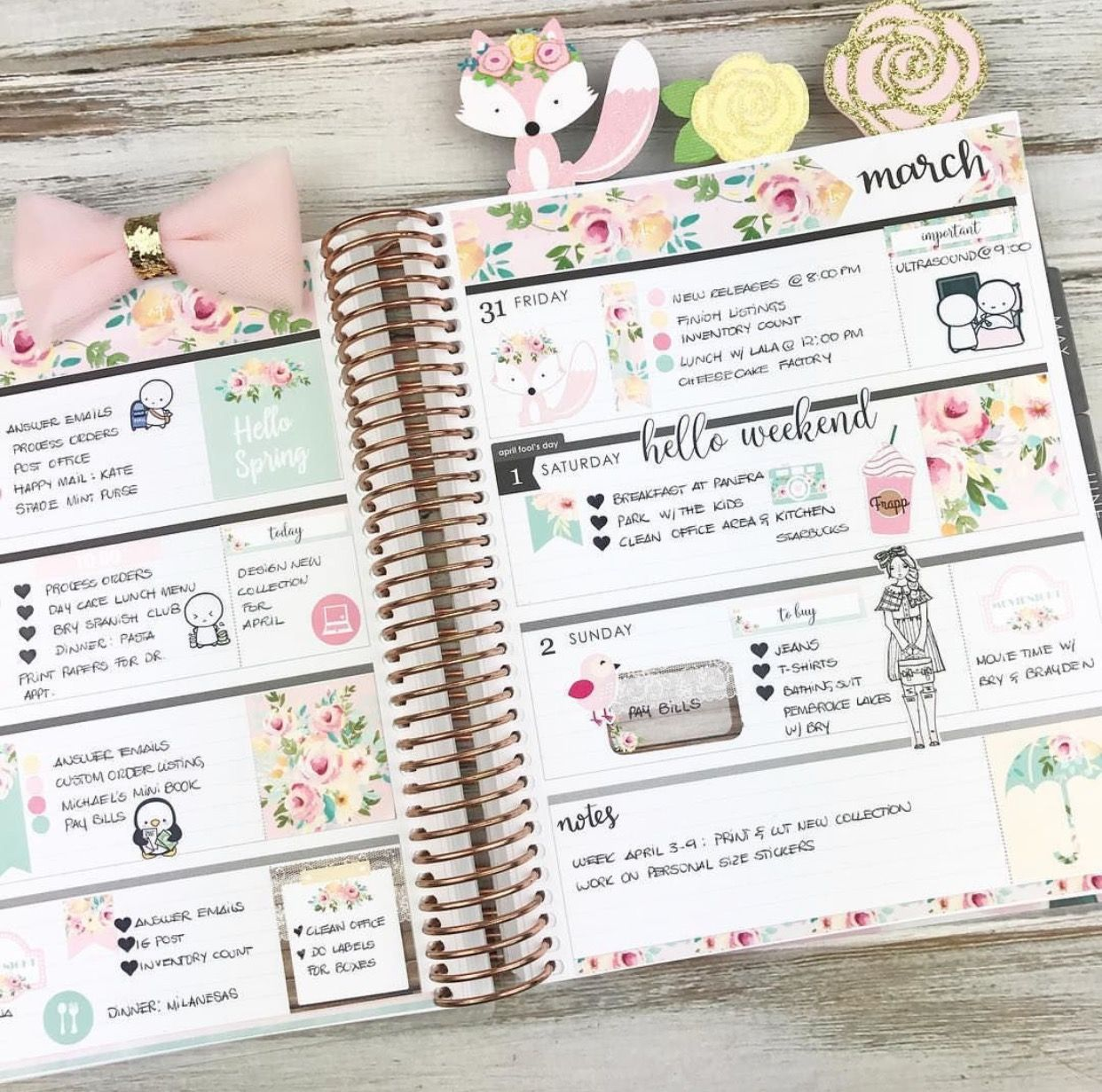 Second half in my horizontal Erin Condren Life Planner using our Hello Spring Kit  #plannergirl #plannerlayout #erincondren #lifeplanner #eclphorizontal