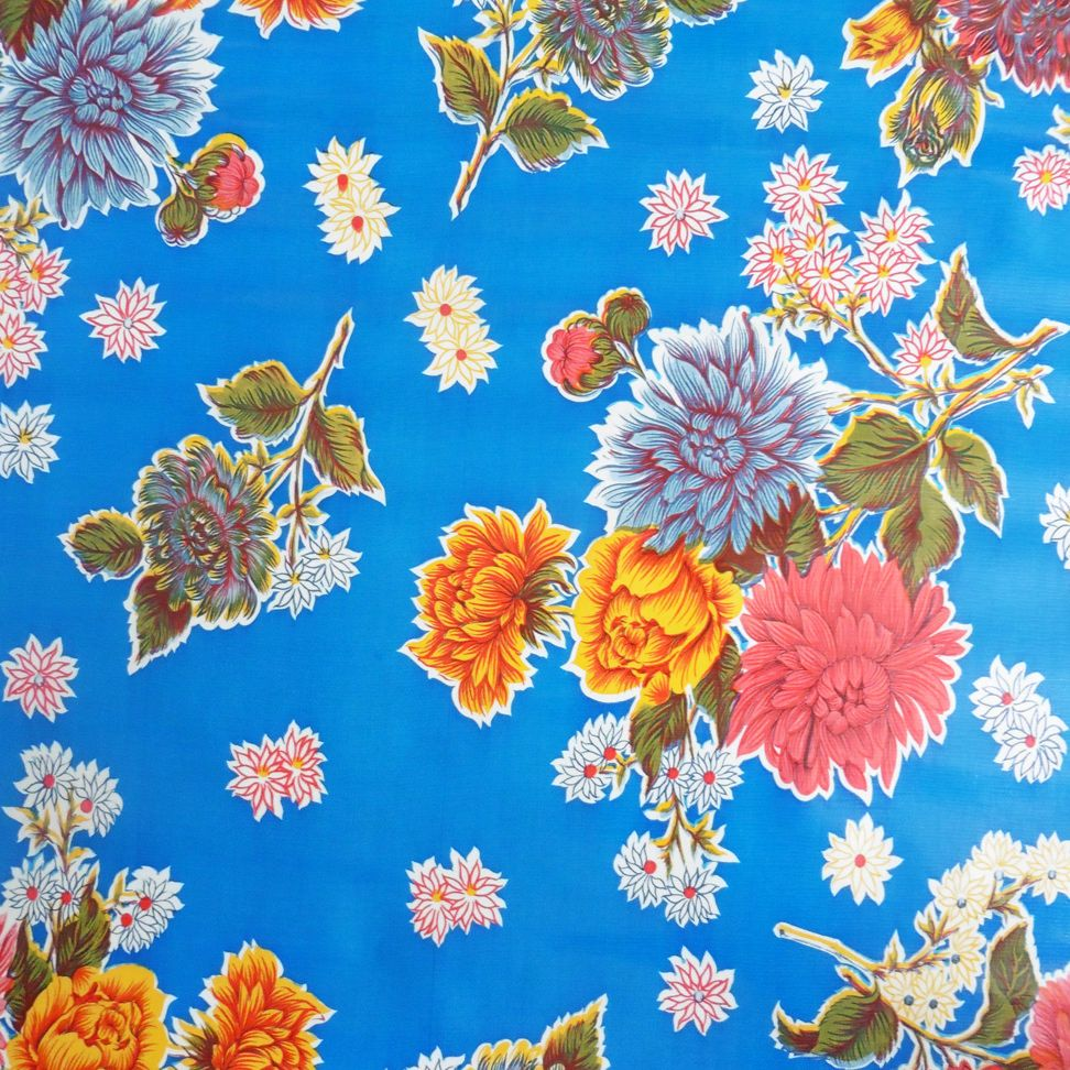 Mexican Oilcloth in Blue ChrsyanthemumWidth:120cmIf you require more than 6 metres please order two lengths.  Oilcloth will be sent in one continous piece up to a maximum length of 10metres.Full rolls available (10.9metres) please email for details.