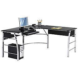 Office Depot Realspace Mezza L Shaped Glass Computer Desk 30 H X 61 1 2 W X 61 1 2 D Black Chrome Corner Desk Office Glass Computer Desks Office Desk