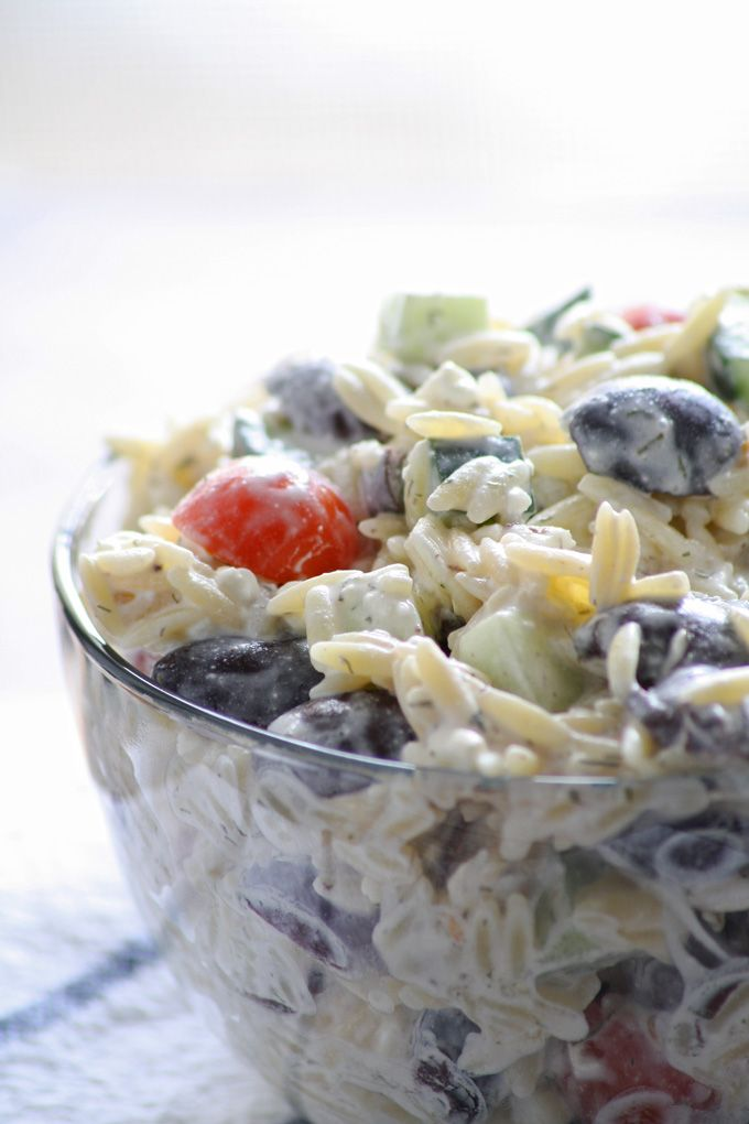An easy and refreshing Greek orzo salad! Perfect for Kalamata olive lovers! Honey and Birch #OMHGWW