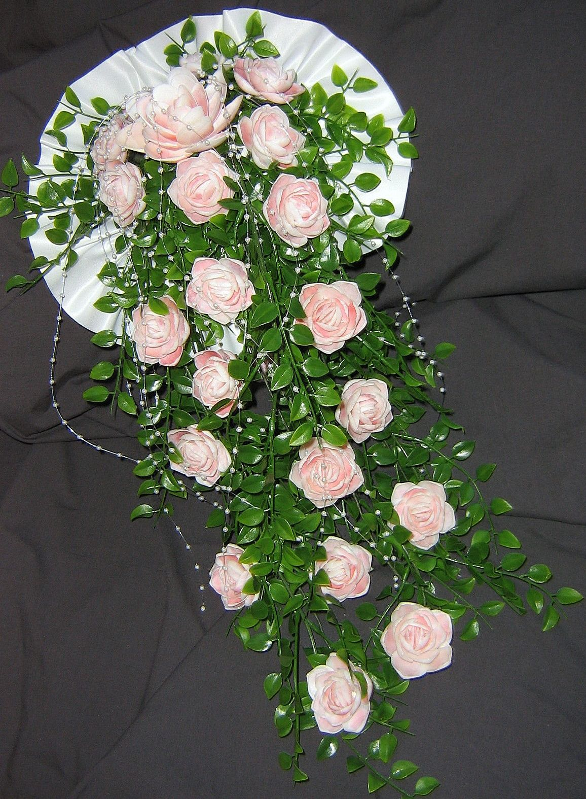 Cascading Wedding Bouquet Of Pink Roses Made With Pink Rose Cup