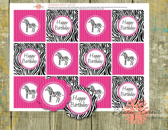 Watercolor Zebra Party 2 Party Circles  by BloomEventsbyBrooke, $5.00