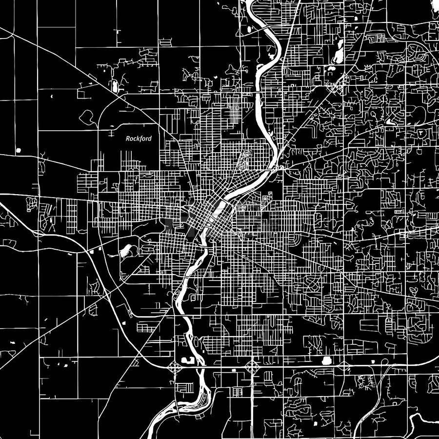 Rockford Illinois downtown map dark Rockford illinois and Print