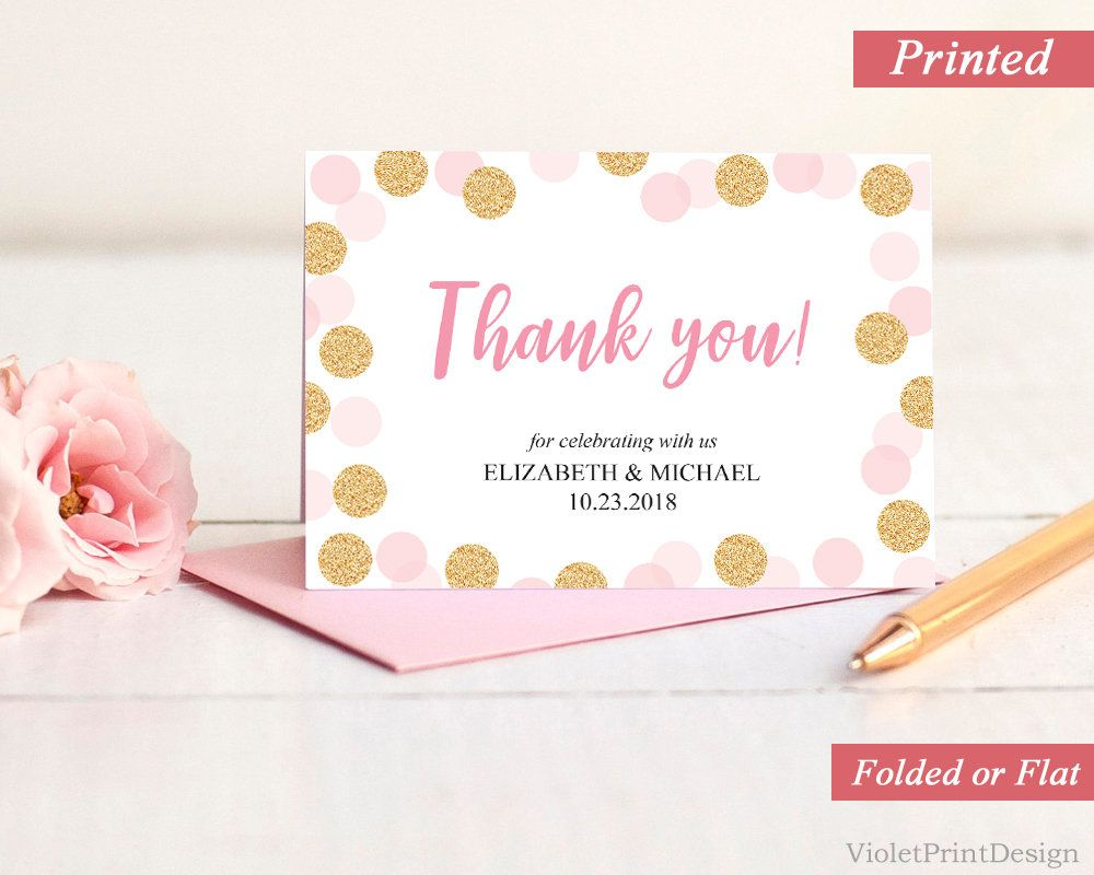 Printed Gold and Pink Thank you Card. Calligraphy Thank you label ...