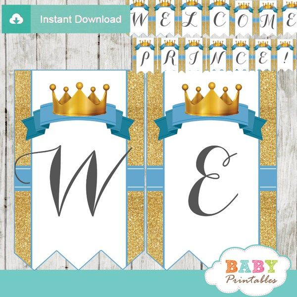 Blue and Gold Royal Prince Baby Shower Banner - D270 | Royal ...
