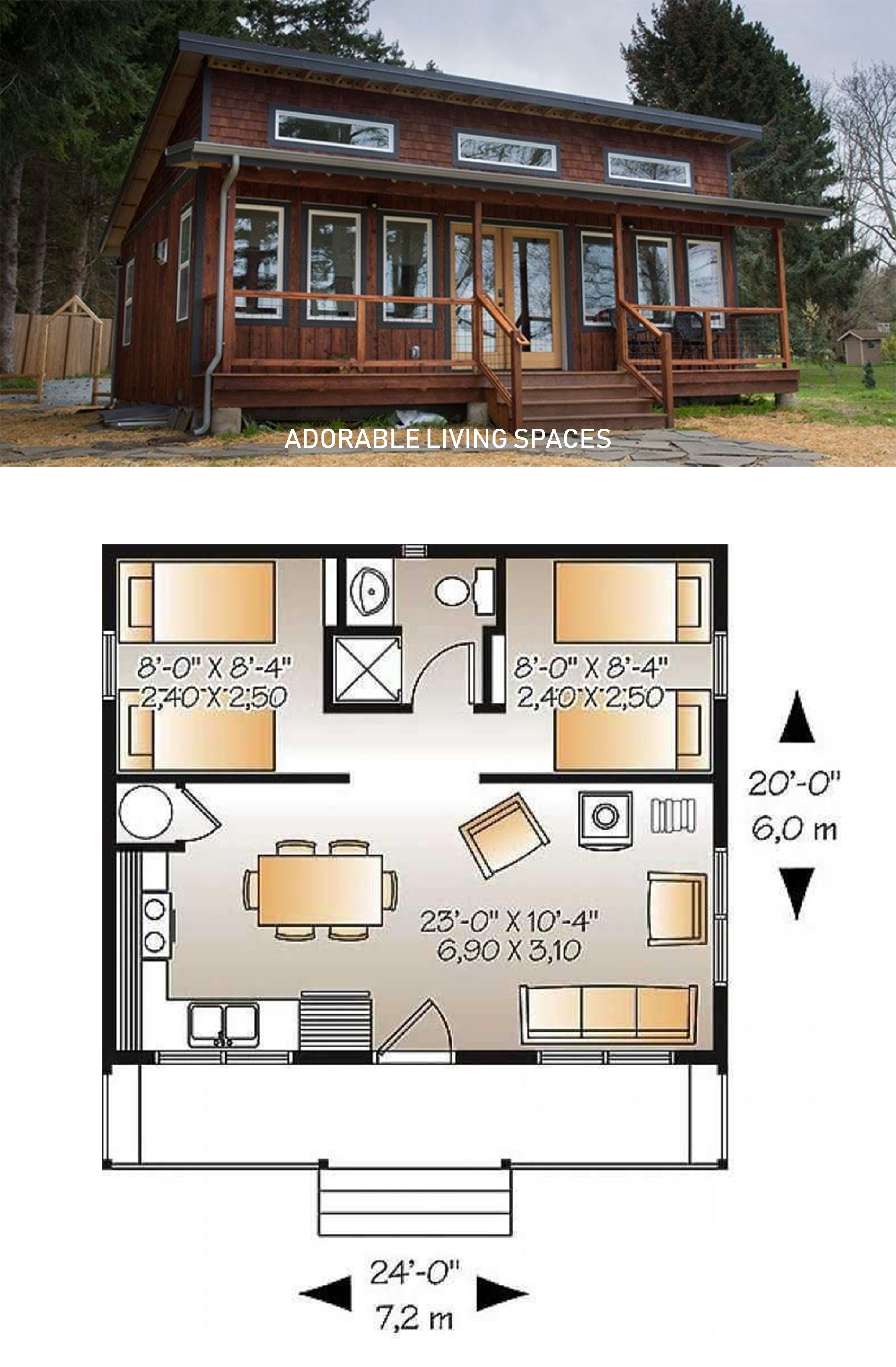 A Simple 24 Foot By 20 Foot Cottage With An Awesome Floor Plan Floor Plans Cabin Floor Plans Cottage Floor Plans