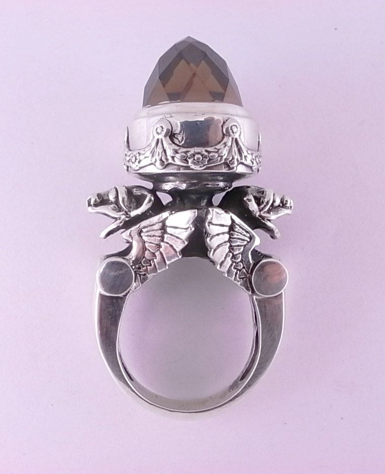 Sterling Silver Winged Gargoyle Urn Ring With Cubic Zirconia William Llewellyn Griffiths Metal Couture Jew Gorgeous Jewelry Amazing Jewelry Beautiful Jewelry