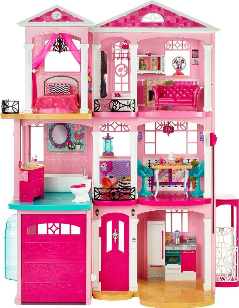 Girls Barbie 3 Storey Doll Dream House Play Set With Furniture