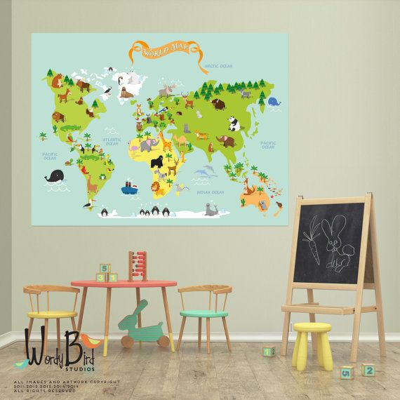 World map peel and stick fabric wall decal by wordybirdstudios