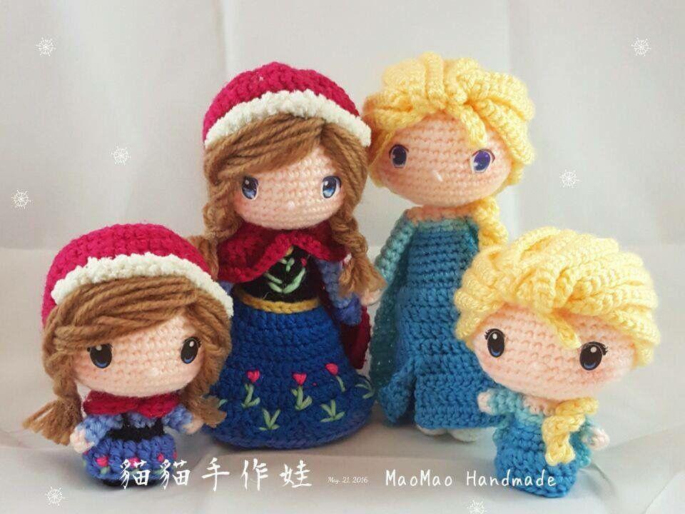 Amigurumi Chibi Doll : Crochet doll frozen anna & elsa u2026 pinteresu2026