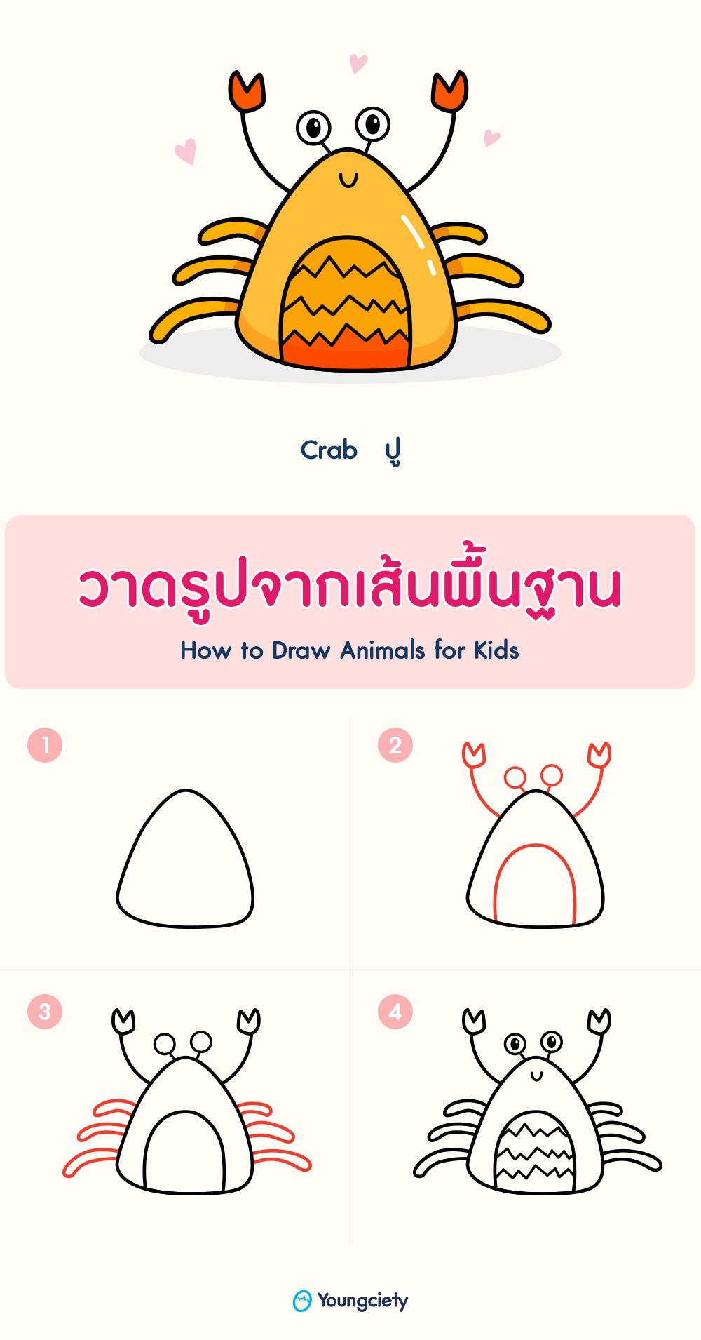 สอนวาดร ปป ง าย ๆ How To Draw A Crab ภาพวาดส ตว ส น ข สอนวาดร ป
