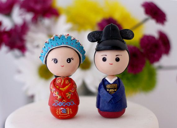 Chinese traditional wedding cake topper kokeshi by Chikipita Top