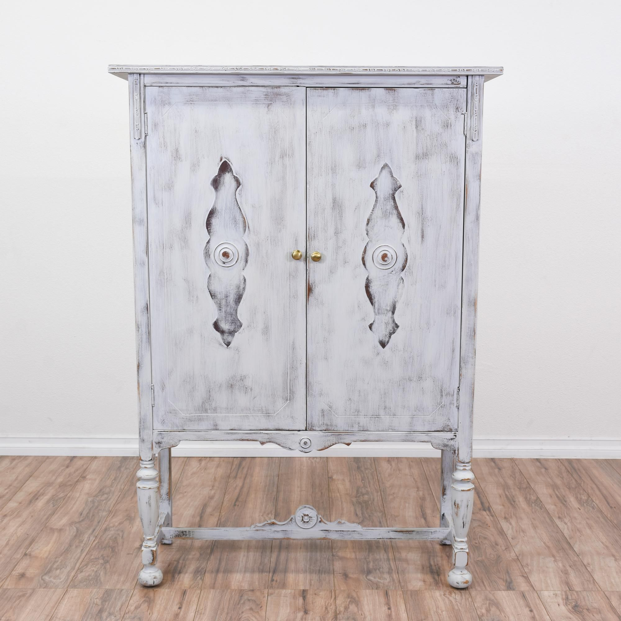 This Shabby Chic Bookcase Armoire Is Featured In A Solid