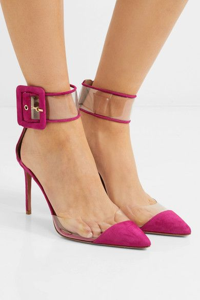 Seduction Pvc And Suede Pumps - Fuchsia Aquazzura