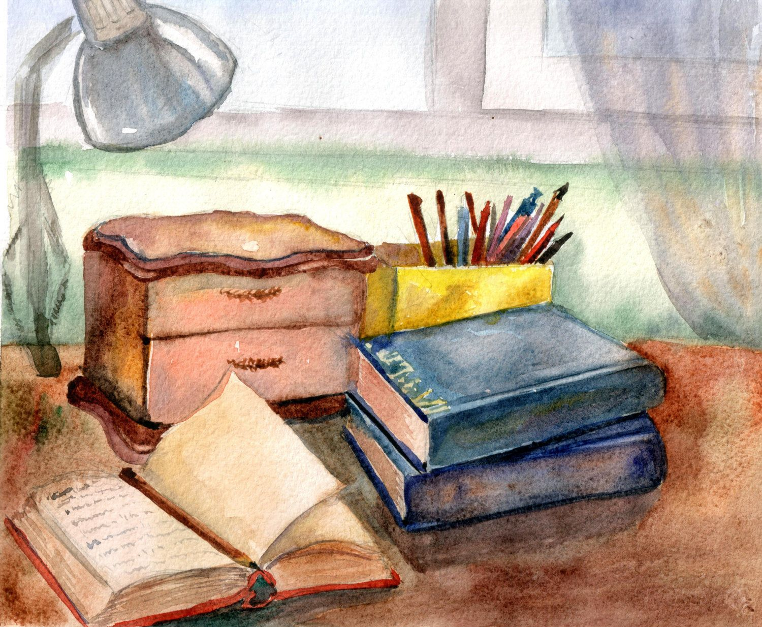 The Original Still Life With Books Watercolor Print Print Books