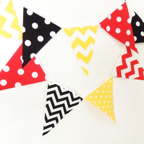 Banner Bunting Fabric Pennant Flags Baby Shower Birthday Party Red Yellow Black Chevron Arg Boys Room Decor Pennant Flags Fabric Bunting