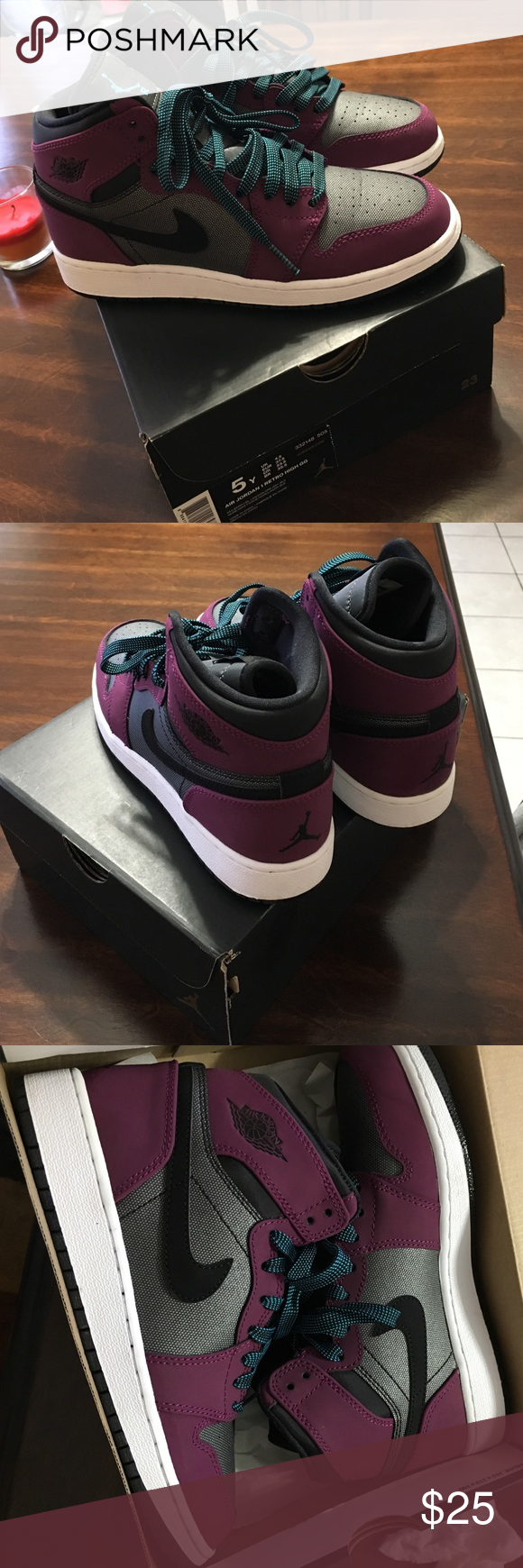 4be0aa6e941b Air Jordan 1 retro high GG (size 5) They are a mulberry color dark grey and  black with baby blue and black shoe laces Jordan Shoes Sneakers