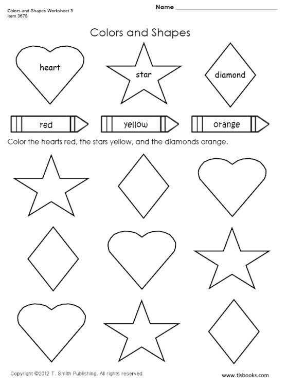 Free shapes and colors worksheets 3 for use with Saxon 1 – Worksheet on Shapes for Kindergarten