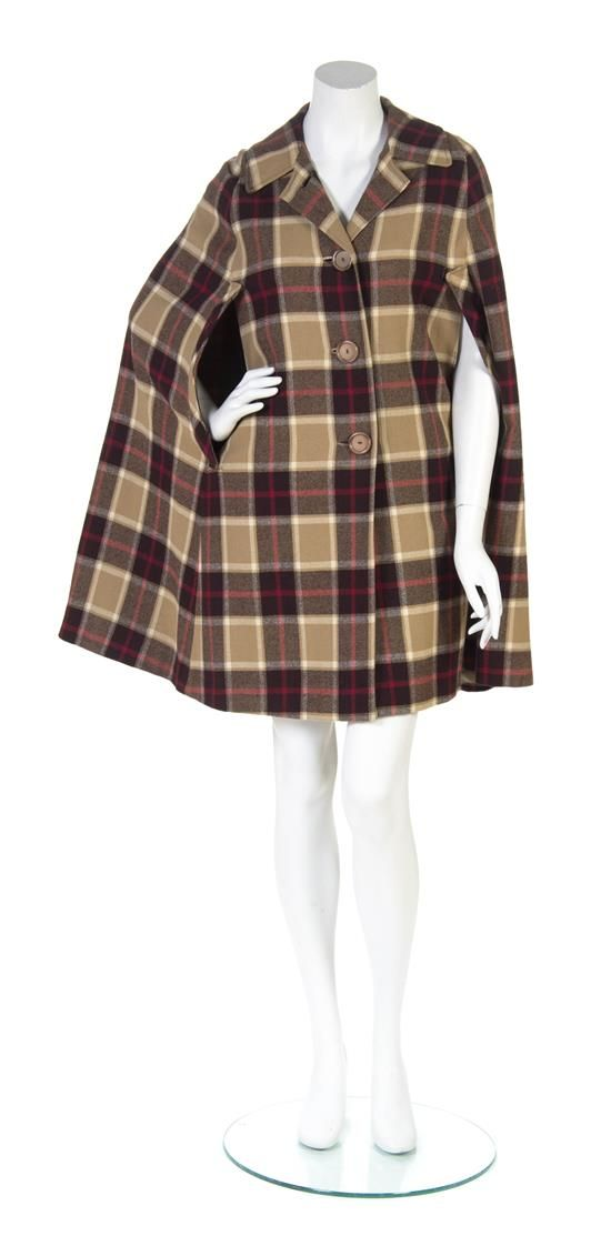 Burberry Tartan Plaid Wool Cape