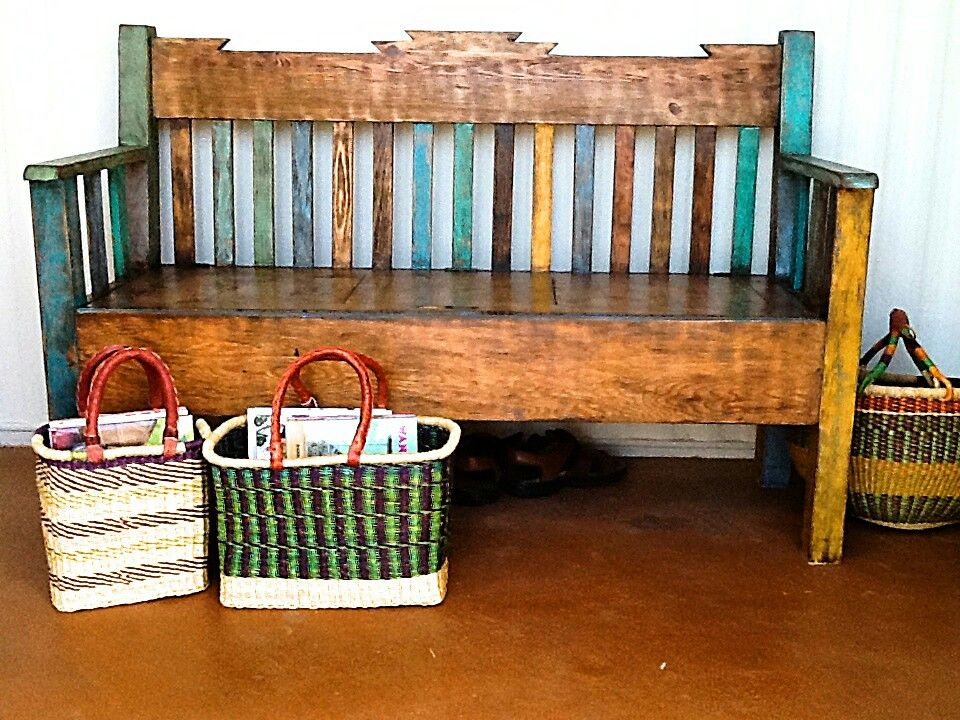 Painted Benches Ideas Part - 28: Here Is A Cute Bench Painted Bench With The Their Favorite Colors