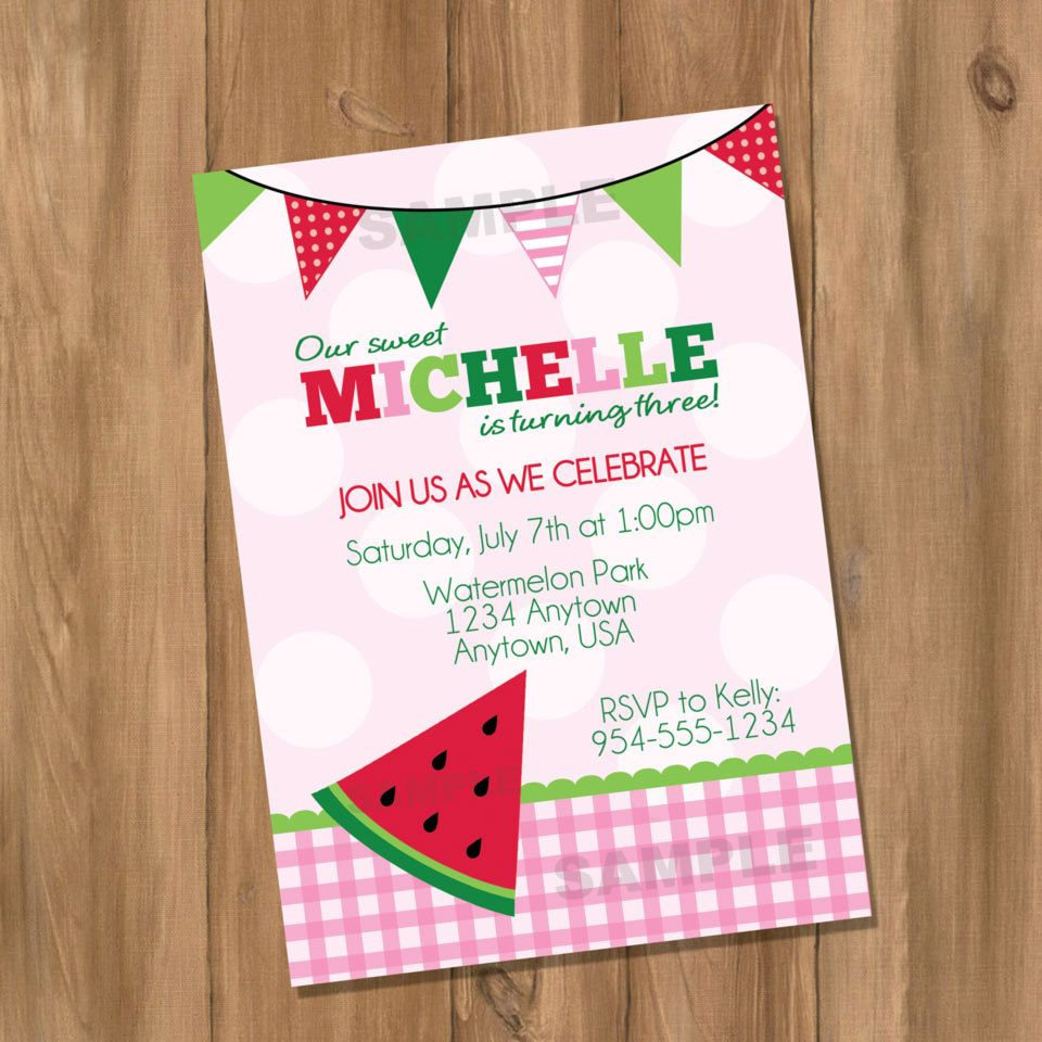 Watermelon Birthday Party Invitation (Digital - DIY). $10.00, via ...