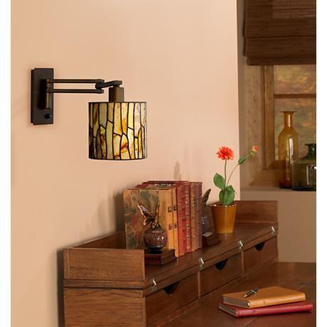 Robert Louis Tiffany Lansing Plug-In Swing Arm Wall Lamp