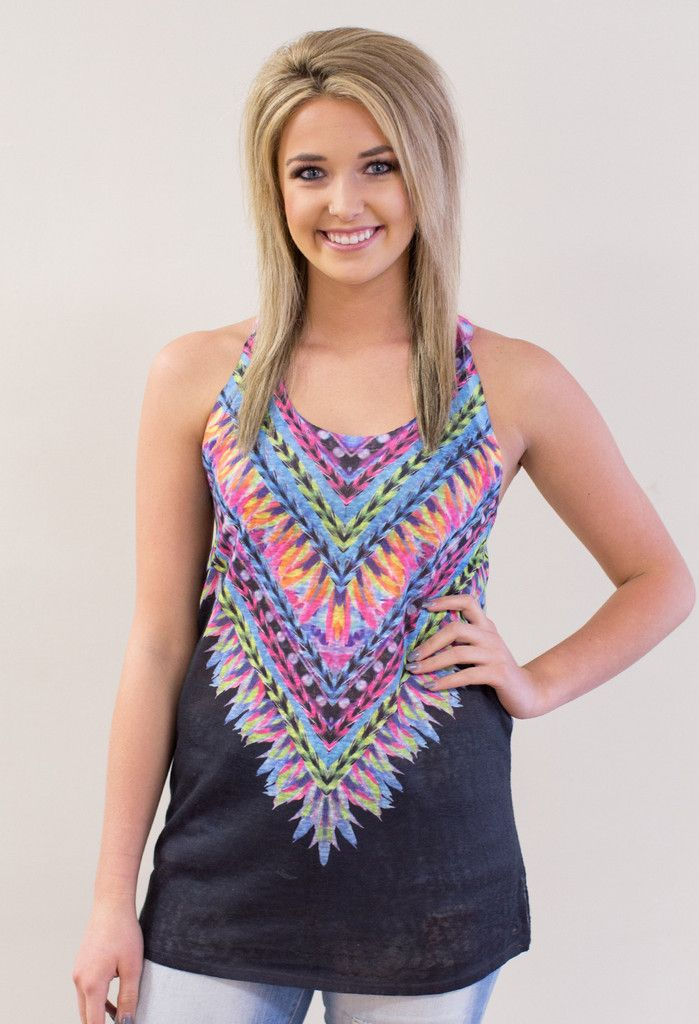 "This adorable tank will be worn all Summer long. These colors and pattern make it one of a kind. 95% Polyester, 5% Spandex Made in the USA <3 Model is 5'7"" and size 4 in a Small.     Measurements Bust Length   Small: 34"" 28.5""   Medium: 35"" 29""   Large: 37"" 29.5"
